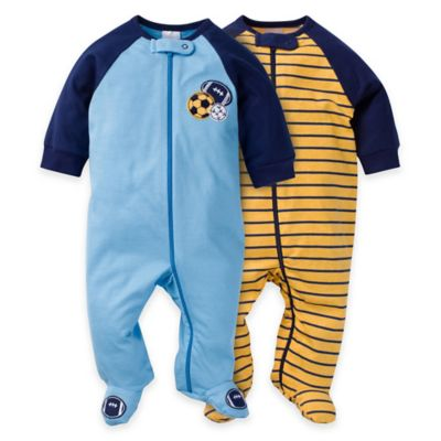 Gerber® Size 0-3M 2-Pack Sports Zip-Front Footies in Blue/Gold