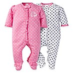 Gerber® Size 0-3M 2-Pack Elephant Zip-Front Footies in Pink/White