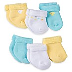 Gerber® Size 0-3M 6-Pack Duck/Star Terry Bootie Socks in Yellow/White/Aqua