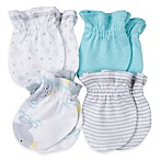 Gerber® Newborn 4-Pack Mittens in Aqua/Gray Stripe/Ducks