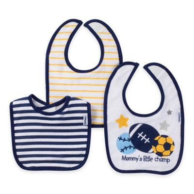 Gerber® 3-Pack Sports Terry Bibs in Blue/White/Gold