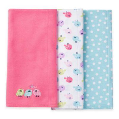 Gerber® 3-Pack Bird Burp Cloths in Pink/ Blue