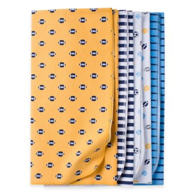 Gerber® 4-Pack Sports Flannel Receiving Blankets in Gold/Blue