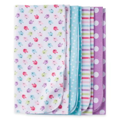 Gerber® 4-Pack Bird Flannel Receiving Blankets in Lavender/Blue