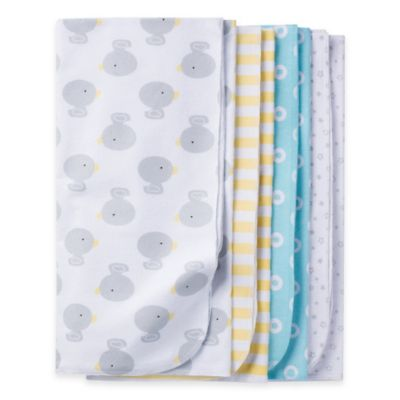 Gerber® 4-Pack Duck Flannel Receiving Blankets in Blue/Yellow