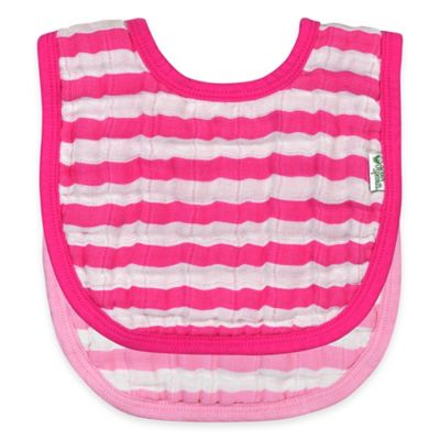Striped Pink Baby Bibs