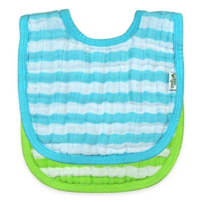 iPlay.® 2-Pack Muslin Stripe Bibs in Aqua/Green
