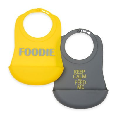 Chewbeads Boy 2-Pack Silicone Food Bibs in Grey/Yellow