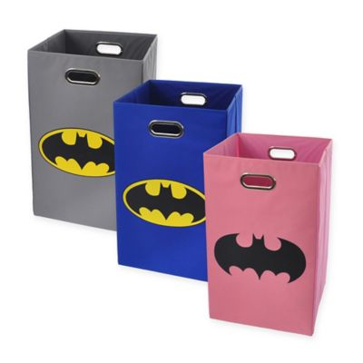 Modern Littles Batman Logo Folding Laundry Basket in Blue