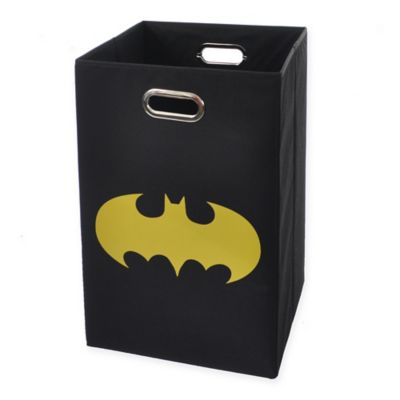 Modern Littles Batman Shield Folding Laundry Basket in Black