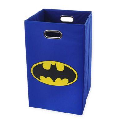 Modern Littles Batman Logo Folding Laundry Basket in Blue