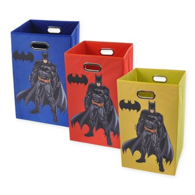 Modern Littles Batman Graphic Folding Laundry Basket in Yellow