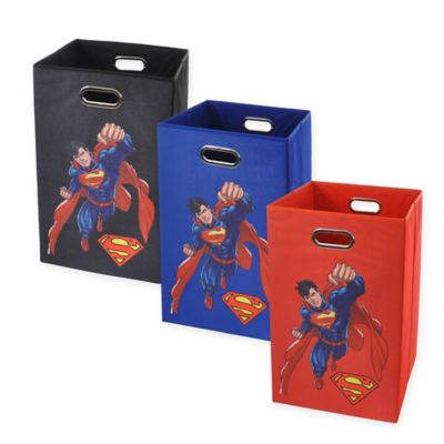 Modern Littles Superman Graphic Folding Laundry Basket in Blue