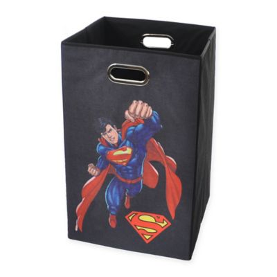 Modern Littles Superman Graphic Folding Laundry Basket in Black