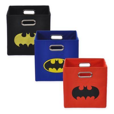 Modern Littles Batman Shield Folding Storage Bin in Black