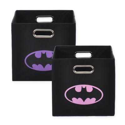 Modern Littles Batman Logo Folding Storage Bin in Pink