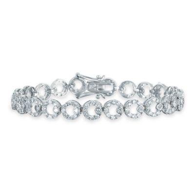 Genevieve Sterling Silver Cubic Zirconia 7-Inch Open Circle Link Bracelet