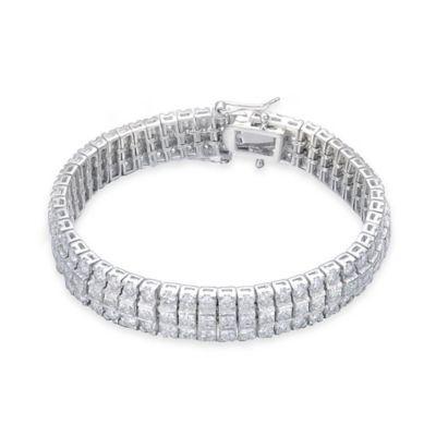 Genevieve Sterling Silver Cubic Zirconia 7-Inch Princess-Cut 3-Row Bracelet