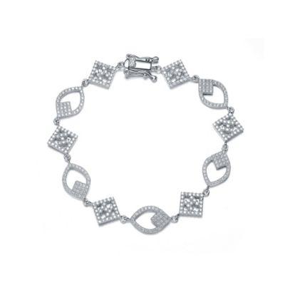 Genevieve Sterling Silver Cubic Zirconia 7-Inch Pave Open Shape Bracelet