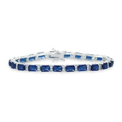Genevieve Sterling Silver White and Blue Cubic Zirconia 7-Inch Emerald-Cut Tennis Bracelet