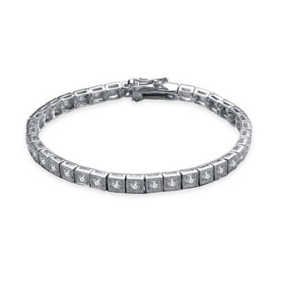 Genevieve Sterling Silver Cubic Zirconia 7-Inch Pave Tennis Bracelet