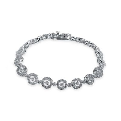 Genevieve Sterling Silver Cubic Zirconia 7-Inch Open Circle Dot Bracelet