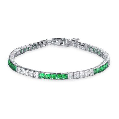 Genevieve Sterling Silver White and Gree Cubic Zirconia 7-Inch Princess-Cut 5-by-5 Bracelet