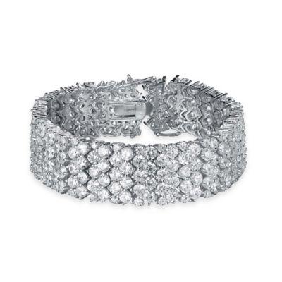 Genevieve Sterling Silver Cubic Zirconia 7-Inch 6-Row Tennis Bracelet