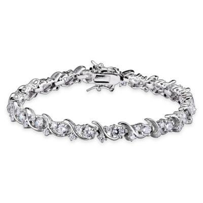 Genevieve Sterling Silver Cubic Zirconia 7-Inch Fine Scroll Bracelet