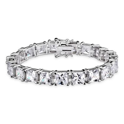 Genevieve Sterling Silver 5mm Cubic Zirconia 7-Inch Princess-Cut Dazzling Tennis Bracelet