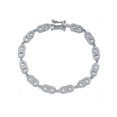 Genevieve Sterling Silver Cubic Zirconia 7-Inch Pave Interlocking Circle Link Bracelet