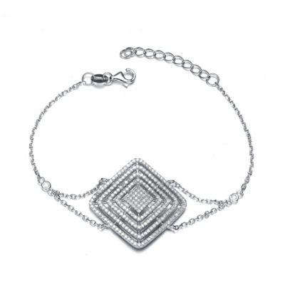 Genevieve Sterling Silver Cubic Zirconia 7-Inch Radiating Diamond Bracelet