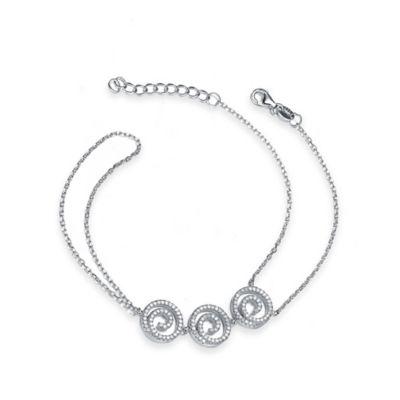 Genevieve Sterling Silver Cubic Zirconia 7-Inch Triple Scroll Bracelet