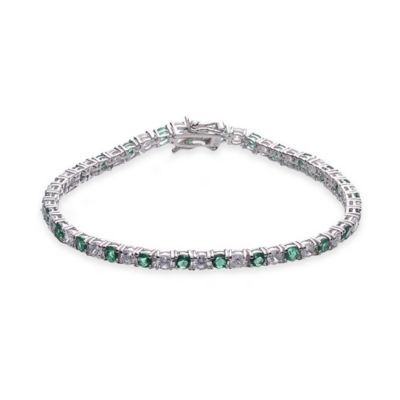 Genevieve Sterling Silver White and Green Cubic Zirconia 7-Inch Dainty Tennis Bracelet