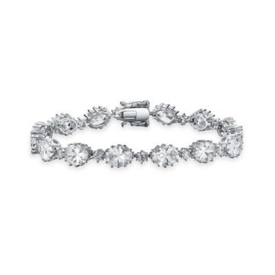 Genevieve Sterling Silver Cubic Zirconia 7-Inch Classic Oval Tennis Bracelet