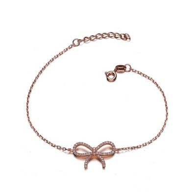 Genevieve Rose Gold-Plated Sterling Silver Cubic Zirconia 7-Inch Dainty Bow Bracelet