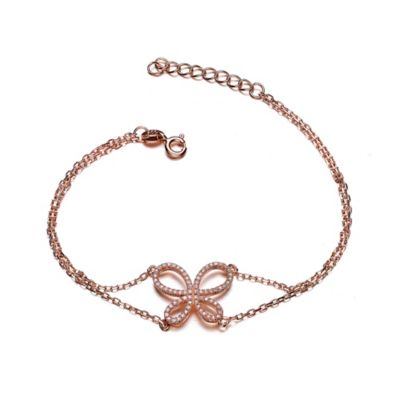 Genevieve Rose Gold-Plated Sterling Silver Cubic Zirconia 7-Inch Dainty Butterfly Bracelet