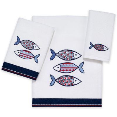 Avanti Mosaic Fish Hand Towel in White