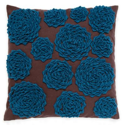 Callisto Home Rose Square Throw Pillow in Blue