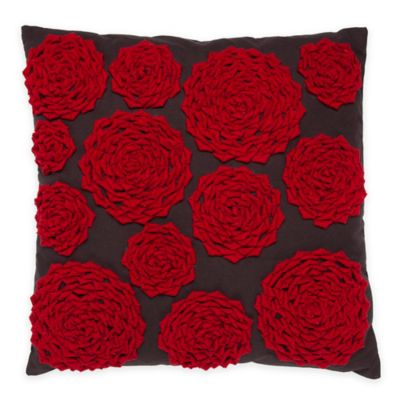 Callisto Home Rose Square Throw Pillow in Red