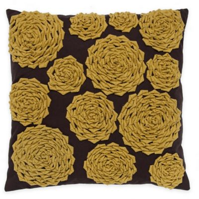 Callisto Home Rose Square Throw Pillow in Yellow