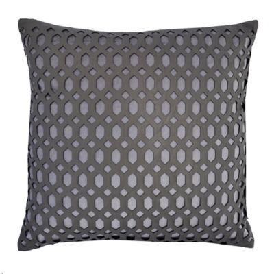 Callisto Home Faux Leather Accented Cleo Square Throw Pillow in Light Brown