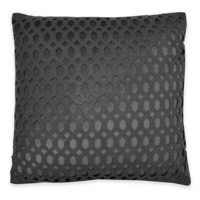 Callisto Home Faux Leather Accented Cleo Square Throw Pillow in Charcoal