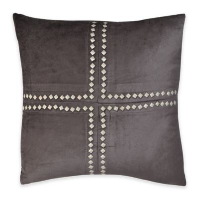 Callisto Home Studded Cleo Square Throw Pillow in Charcoal