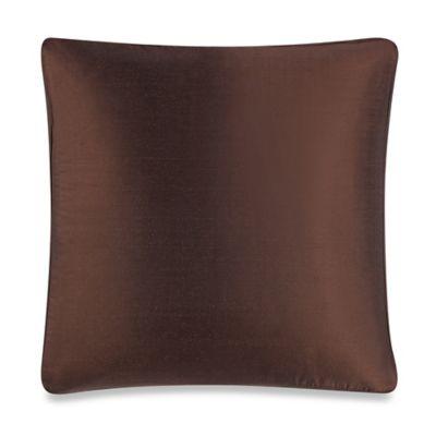 Aura Silk Dupioni Box Square Throw Pillow in Dark Chocolate