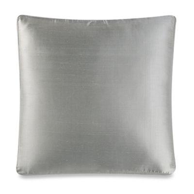 Aura Silk Dupioni Box Square Throw Pillow in Ice Blue