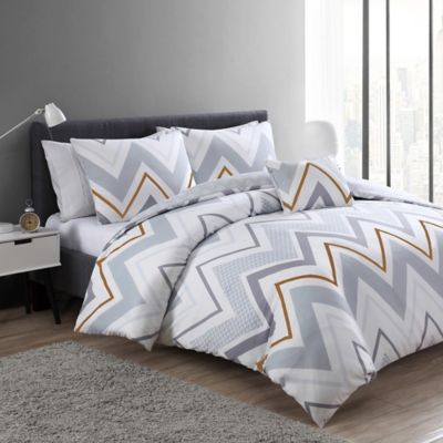 VCNY Serendipity 3-Piece Reversible Twin/Twin XL Duvet Cover Set in White/Grey
