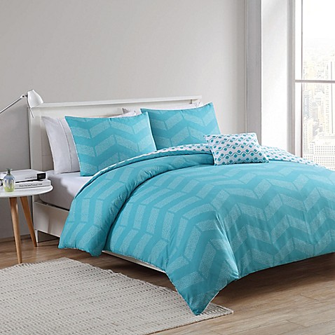buy vcny stella 3 piece reversible twin twin xl duvet cover set in aqua from bed bath beyond. Black Bedroom Furniture Sets. Home Design Ideas