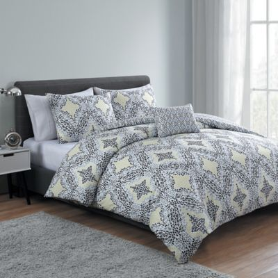 VCNY Connell 3-Piece Reversible Twin/Twin XL Duvet Cover Set in Yellow/Grey