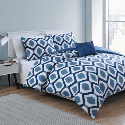VCNY Santa Fe 3-Piece Reversible Twin/Twin XL Duvet Cover Set in Navy/White